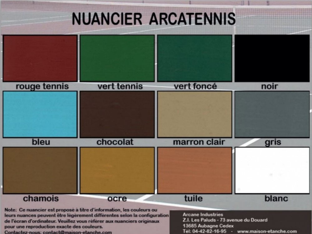 Nuancier Peinture Tennis ARCATENNIS